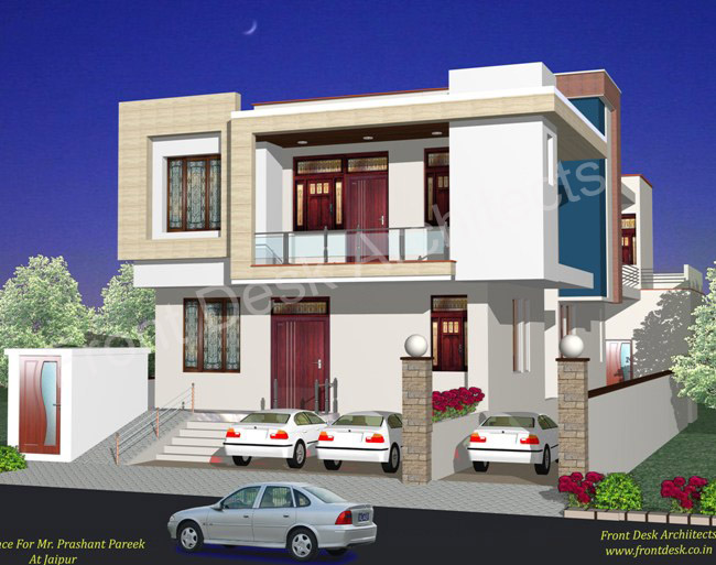 Nice Front Design Of House In Jaipur Part - 14: Affordable Front Desk Architects In Jaipur Residential With Kothi Design.